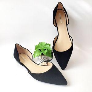 Zara Black d'Orsay Pointy Toe Flats Size 9 New